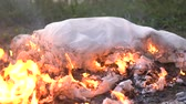 echtscheiding : Burning white wedding dress. Stockvideo