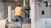Drilling rig in operation at construction site Wideo