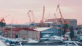 gantry : KLAIPEDA, LITHUANIA - 12 JANUARY 2018: Port in Klaipeda. Lithuania winter