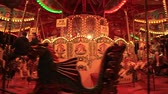 nostaljik : LONDON, UK - NOVEMBER 30, 2017 Merry go round carousel in London Stok Video