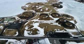 pêssego : Aerial view of pseudocraters near the frozen lake Myvatn - northern Iceland