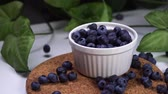 ビルベリー : delicious blueberries falling in white bowl. cinematic view with green plants in the background