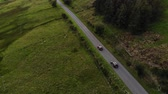 enrolamento : Two SUVs drive one after another along country road in field. Aerial view. Vídeos