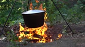 caldeira : Pot Over Fire. Camping kettle over open fire in autumn forest