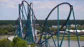 kraken : Orlando, Florida. June 03, 2019. Panoramic view of people enjoying Mako rollercoaster at Seaworld 1