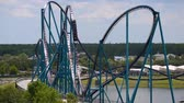 kraken : Orlando, Florida. June 03, 2019. Panoramic view of people enjoying Mako rollercoaster at Seaworld 3