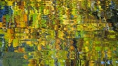 desfocagem : Autumn trees reflected in the lake Stock Footage