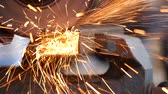 technology : Angle grinder at work