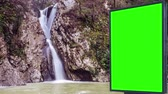 рамка : Billboard green screen near the Fabulous waterfall