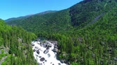 altay : Flight over the Altai mountains. Stunning waterfall Stock Footage