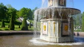 russian : Fountains of Peterhof. Russia