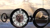 watches : Pocket watch on water background