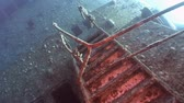 salem express : Stairs on Salem Express shipwrecks underwater in the Red Sea in Egypt. Extreme tourism on the ocean floor in the world of coral reefs, fish, sharks. Researchers of wildlife blue abyss. Deep diving.