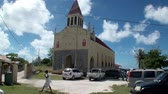 chant : Tahiti Island French Polynesia - 26 May 2018: Church TIONA with seashells.