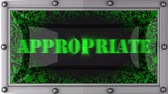 apropriado : appropriate announcement on the LED display Stock Footage