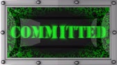 comprometido : committed  announcement on the LED display Stock Footage