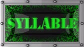 syllable : syllable  announcement on the LED display