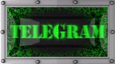 telegram : telegram  announcement on the LED display Stock Footage