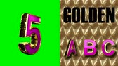 texture : rendered on green chromakey loop golden and pink alphabet