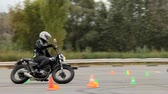 Lipetsk, Russian Federation - September 17, 2016: Competition the Moto gymkhana, Workout of the rider before the competition at the Moto gymkhana events