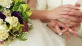 wedding : Couples hands caress each other