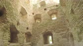 battlements : The interior of old tower ancient fortress Stock Footage