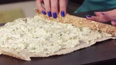lavash : Twisting pita bread with a filling of greenery and cheese
