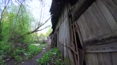 terörizm : Ruined house in the Donbass Stok Video