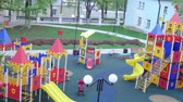lawn : Childrens playground in the yard Stock Footage