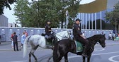 mounted : Mounted police among the fans Stock Footage