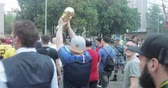 worldcup : Football fans walking in the metro
