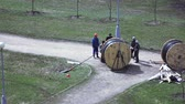 змеевик : Installation of power cable by workers