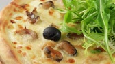 cusine : Pizza with seafood (shrimp, mussels, squid) Stock Footage