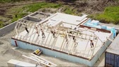 meslek : Aerial view of building timber frame house Stok Video