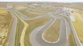 gokart : AERIAL VIEW. Racing Carts During Russian Carting Championship Stock Footage