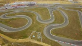 gokart : AERIAL VIEW. Empty Cart Race Track During Championship Stock Footage