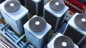systemen : Row of Industrial large air conditioning fans on function