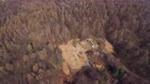 historický : Aerial military bunker in the woods with a drone 4К