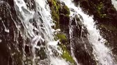 shallow depth field : Slow motion of a small mountain waterfall. 240fps. The mountain stream falls down on stones in a bottom. Stock Footage