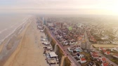 estuary : Aerial Drone View North sea and the beach near the Zandvoort of the Netherlands