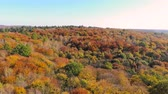 Мичиган : Aerial Footage View. Colored autumn trees. Flight over autumn mountains with forests, meadows and hills in sunset soft light.