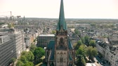 Aerial drone view. Germany Dusseldorf Church St. Peter. Panorama of dusseldorf