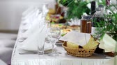 white wine dish : Fully decorated table with refined dishes. Ready to start celebrations. Server table