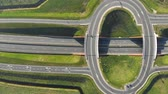 dálnice : Aerial view on top Travel cars interchange in the form of a ring on the highway. Exit from the motorway view from the top.