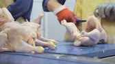 göğüs : An employee of the company conducts deboning chicken. Chicken breasts with ribs are separated from thighs. Hand closeup which share the chicken