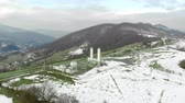 stacja paliw : Aerial view coal distribution station which is in the mountains in winter