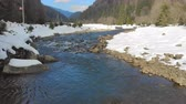 havasi levegő : Low flying over the river in the winter mountains. winter carpathian Ukraine