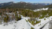 congelados : Aerial view of Race between athletes skiers in the mountains. Biathlon in the winter mountains. A group of athletes overcomes the distance Archivo de Video
