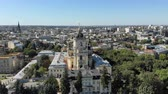 barok : Aerial view of Church of St. George St. Jura in Lviv. Flight over the city of Lviv and the Cathedral church. Wideo