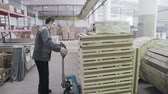 distribuidor : Russia, Novosibirsk - July 25, 2015: Work on stock room. Order for carriage. Company import goods for resale. Trader of retail and wholesale trade. An employee puts boxes in a large area. Dolly Vídeos